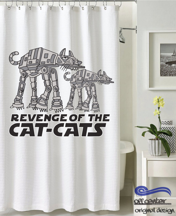 Robot Cat Shower Curtain