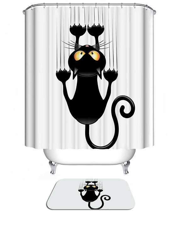 Black Cat and Claws Shower Curtain