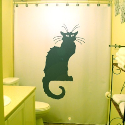 Paris Black Cat Shower Curtain