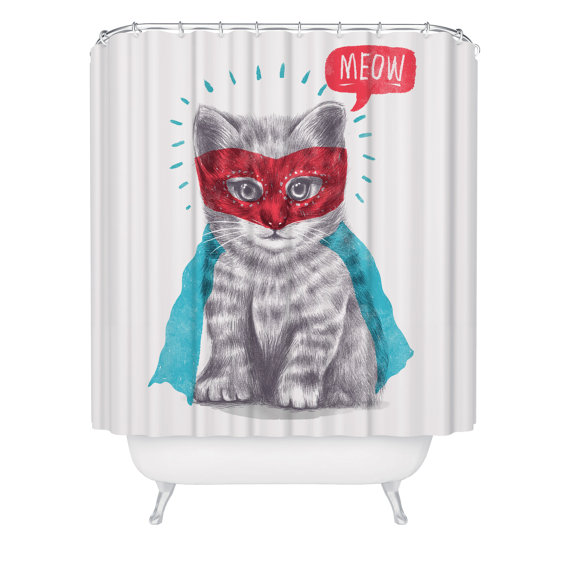Super Hero Cat Shower Curtain