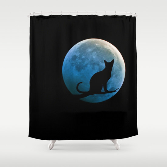 Cat and Full Moon Shower Curtain