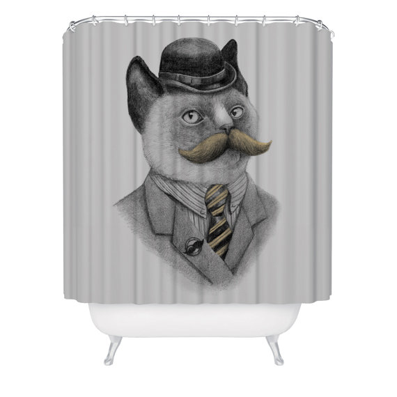 Cat Mustache Shower Curtain