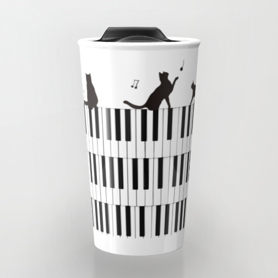 Piano Music Cat Travel Mug
