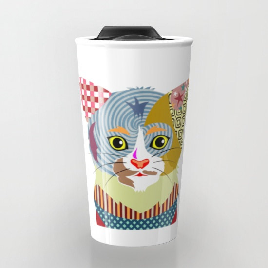 Psychedelic Cat Travel Mug