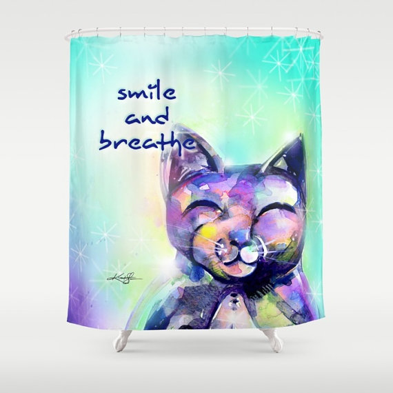 Smile and Breathe Cat Shower Curtain